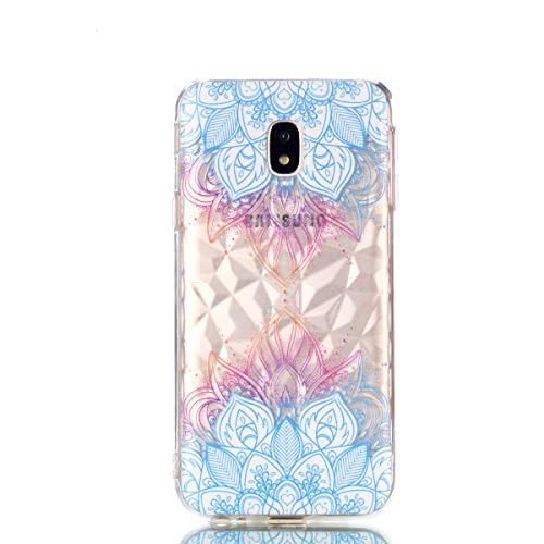 COZY HUT Samsung Galaxy J7 2017 handyhülle, Ultra Dünn Schutzhülle Samsung Galaxy J7 2017 Bumper Case Soft TPU Case Anti Rutsch Silikon Hülle für Samsung Galaxy J7 2017 - Blaue Blätter