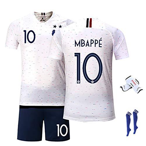 Herren Fußball Fan Shirts Mbappe # 10 Griezmann # 7 Giroud # 9 2020 Europapokal Trikot für Frankreich Fußball Trikot T-Shirt Shorts Kits (Kinder & Männer)-NO.10-M(170~175)