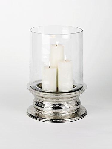 Lambert Makani Windlicht m/Glas groß H 44,5 cm, D 32,5 cm Metallaccesoires, Kristall, Silber, One Size