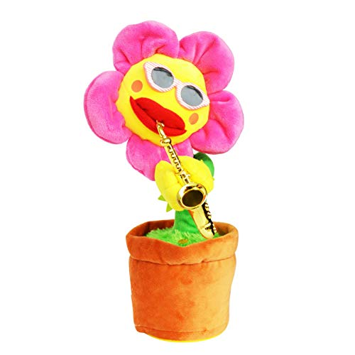 zcm Plüschtier Tanzende Blume Singende Sonnenblume Weiches Plüschtier Plüschpflanze Saxophon Animiertes Tanzendes Blumenpuppenspielzeug