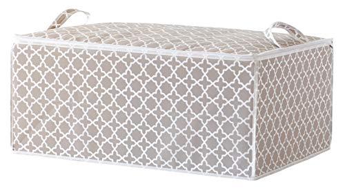 Compactor Funda almacenaje con cremallera y asas, Gama Madison, Color blanco y beige, Tamaño 70 x 50 x 30 cm, Capacidad para 1 edredón doble, RAN7467