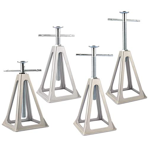 RVGUARD RV Stack Jacks 4 Pack Aluminum Stabilizer Jacks for RV Trailer Camper, Single Support Up to 6000 Lbs, Adjustable from 11  to 17  with Storage Bag