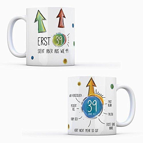 39. Geburtstag Kaffeetasse sieht aus wie 49 - Tasse Becher Schwarzer Humor lustig Glückwunsch vergesslich graue Haare Falten mug