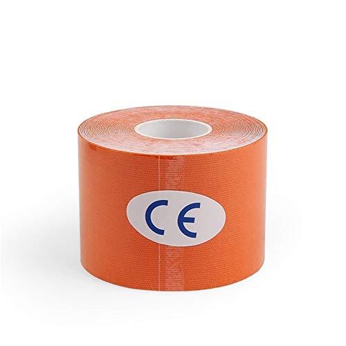 Shop-PEJ Cinta de kinesiología multiusos de 5 cm x 5 m, cinta elástica de algodón, cinta de deporte, para el cuidado de la rodilla, para hacer ejercicio, deportes (color naranja)