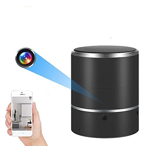 Altavoz de cámara Oculta 1080P HD WiFi Cámara espía Altavoces Bluetooth Girar 180 ° Cámara inalámbrica Grabadora de Video Detección de Movimiento