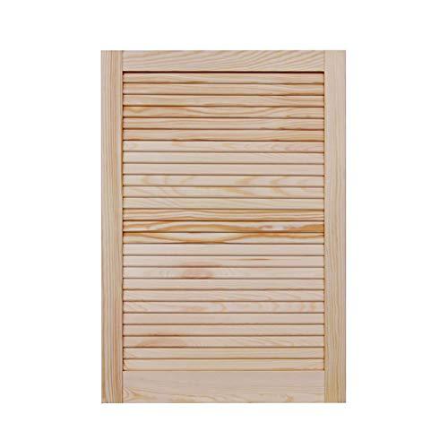 Lamellentür Holztür natur 717 x 494 x 21 mm mit geschlossenen Lamellen für Regale, Schränke, Möbel   Kiefer Holz unbehandelt
