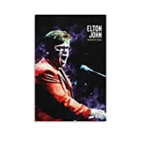 Elton Johnエルトンジョンロックンロール5 バスルーム ベッドルーム リビング装飾 キャンバス ウォールアート プリント 油彩画 壁の絵24×36inch(60×90cm)