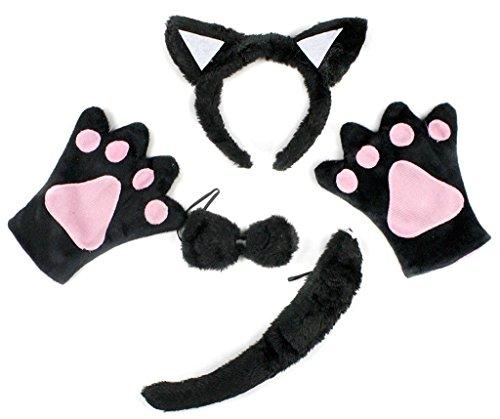 Petitebelle Stirnband Bowtie Schwanz Handschuhe 4pc Kostüm Einheitsgröße Schwarze Katze