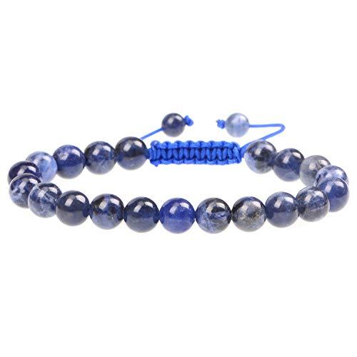 LPBeads 8mm Unisex Natural Gemstone Adjustable Bracelet with Jewelry Bag