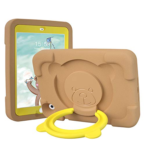 PZOZ Kids Case Compatible for Apple iPad Mini 1 2 3 7.9 inch, EVA Shockproof Rotate Handle Folding Stand Heavy Duty Protective Cute Boys Girls Cover for Mini 1st 2nd Gen 3th Generation (Brown)