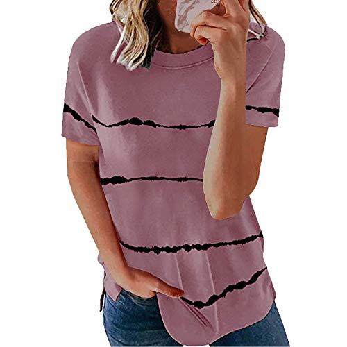 URIBAKY - Camiseta de manga corta para mujer, diseño de rayas y cuello redondo rosa S
