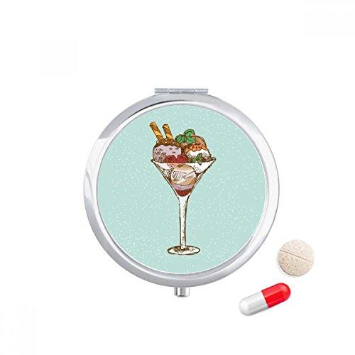 DIYthinker bladeren bloem beker ijs bal Travel Pocket Pill Case Medicine Drug Opbergdoos Dispenser Spiegel Gift