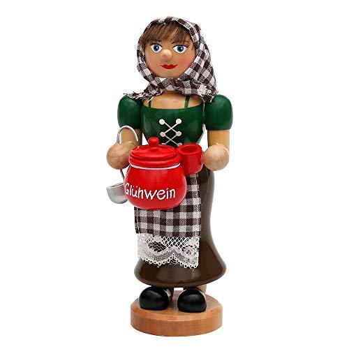 Wichtelstube-Kollektion Holz Räucherfrau Räuchermann Räuchermännchen Räucherfigur Glühweinfrau mit dampfendem Glühweintopf, Tasse & Schöpfkelle 7 x 8 x 17 cm