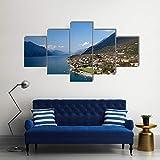 104Tdfc Impresiones sobre Lienzo 5 Piezas Lago de Garda Italia 5 Piezas Modern Painting Wall Art Modular Decoración Pared Póster Decoración para El Hogar