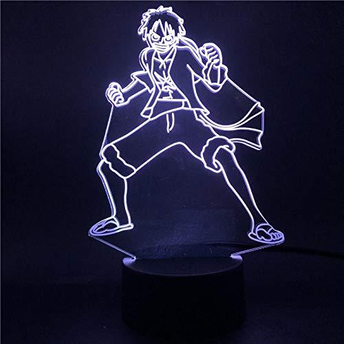 Lámpara de noche 3D de anime, ilusión, anime, One Piece Monkey D Luffy, figura 3D para niños, luz nocturna multicolor LED para habitación de niños