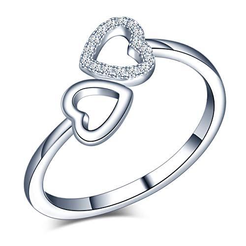 Yumilok Anillo de plata de ley 925 para mujer, anillo de circón con incrustaciones de corazón abierto, tamaño ajustable, regalo de cumpleaños de Navidad, tamaño: 49-57