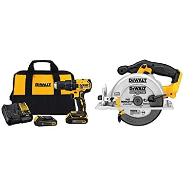 DEWALT DCD777C2 20V Max Lithium-Ion Brushless Compact Drill Driver with DCS391B 20-Volt MAX Li-Ion Circular Saw  (Tool Only)