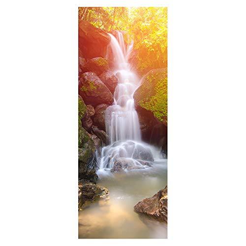 Wqq Türaufkleber Wasserfall Türtapete Wasserdicht Abnehmbar Selbstklebend Wohnzimmer mädchen Schlafzimmer 3D Aufkleber der Tür Poster 77X200CM (30.3X78.7in),D
