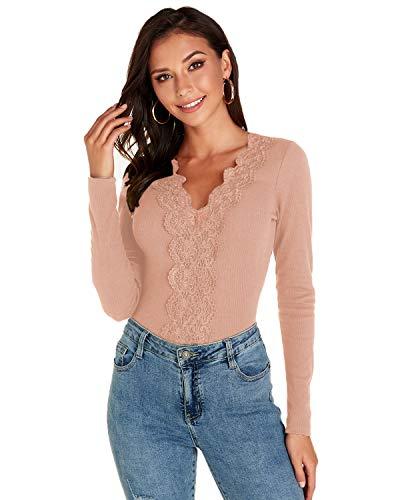 VONDA Sexy Oberteile Damen Spitzenoberteil Elegant V-Ausschnitt Langarmshirt Enge Bluse Schicke Tops Shirt A-Rosa M
