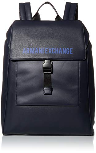 Armani Exchange Logo Buckle Rucksack Backpack, Mochila para Hombre, Navy, O/S