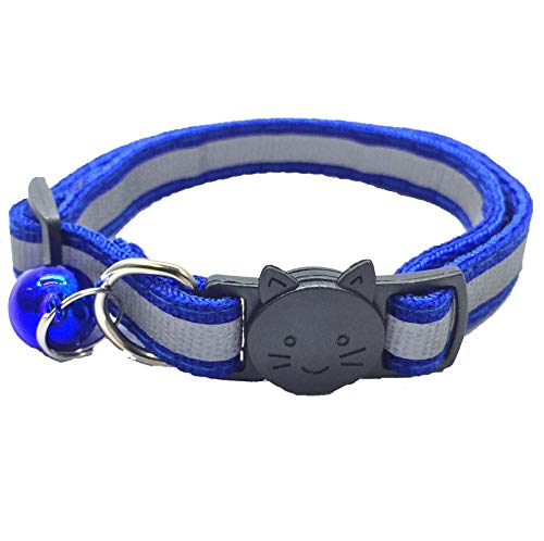 PACCOMFET FUNPET 6 Pcs Breakaway Cat Collar with Reflective Nylon Strip and Bell, Safe and Durable