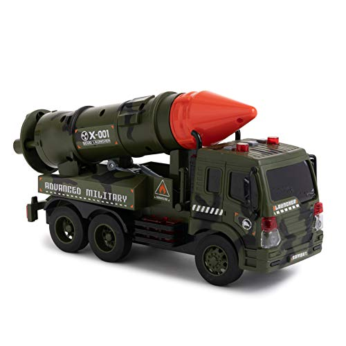 Toy To Enjoy Army Truck with Missile Launcher - Friction Powered Wheels & Movable Launcher - Heavy Duty Plastic Military Vehicle Toy for Kids & Children