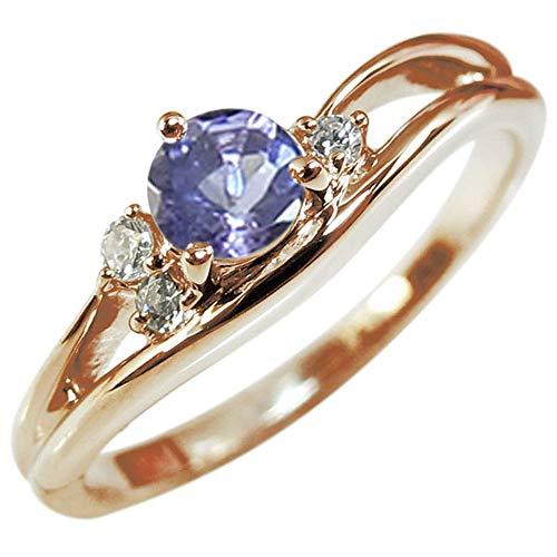 [プレジュール]タンザナイト リング 誕生石 シンプル ピンクゴールド 18k 指輪 リングサイズ6号