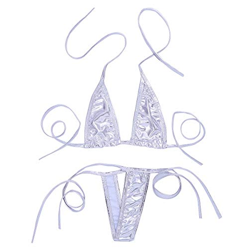 Freebily Damen Wetlook Bikini Sets Bademode Triangel Bikini BH Bra Micro G-String Tanga Metallic Bademode Reizwäsche Unterwäsche Silber Einheitsgröße