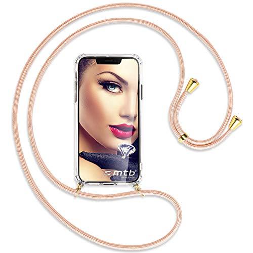 mtb more energy® Handykette kompatibel mit Sony Xperia XA1 Ultra (G3221, G3223 / 6.0'') - Rose Peach/Gold - Smartphone Hülle zum Umhängen - Anti Shock Strong TPU Hülle