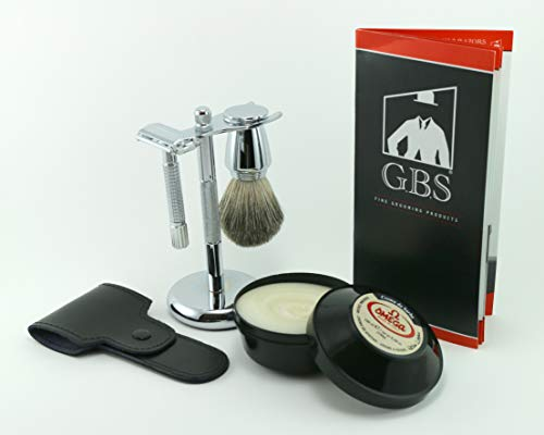 GBS Men's Wet Shaving Holiday Kit - Classy Butterfly Non Slip Knurled DE Safety Razor w/Case 100 ML Omega Shaving Cream Pure Badger Shave Brush, Razor & Brush Stand + DE Blades - Gift Set