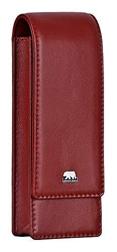 Brown Bear Echtleder Schreibgeräte-Etui Leder Rot für 3 Stifte mit Magnet-Verschluss Echt-Leder hochwertig Stifte-Halter Stifte-Etui Stifte-Tasche BB Golf 80-3 crd