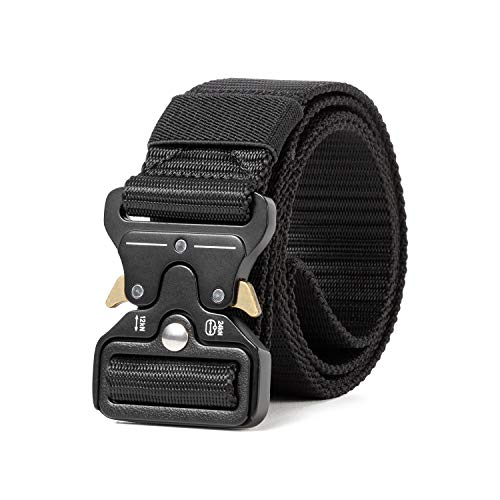 "Sharkborough Men's Tactical Belt Military Style Webbing Riggers Web Belt Heavy-Duty Quick-Release Metal Buckle Black M 36""-42"""