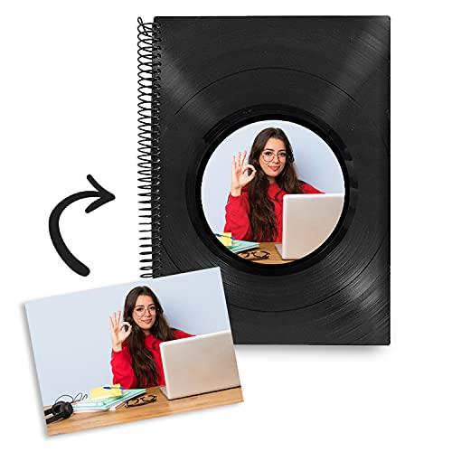 Agenda escolar 2021-2022 semana vista tamaño grande A5 español - para chicos y chicas - diseño personalizado - hecho a mano tapa dura de discos de vinilo