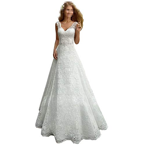 Wedding Dress Women's Romantic V-Neck Lace Beach Wedding Dresses for Bride A Line Lace Up Bridal Dresses Ball Gowns Ivory (Apparel)