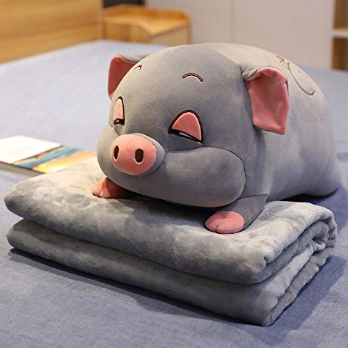 J-MWJ Colchón de Almohada de Peluche de Peluche de Peluche de Cerdo de Dormir Rosa y Franela colchón de Almohada de Juguete J-MWJ ( Color : Grey with Blanket , Height : About 40cm )