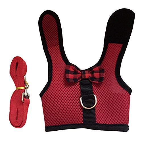 iSunday Chaleco para Mascotas pequeño arnés Correa Comodidad Acolchada Suave Chaleco de Malla para Conejos de cobayas hurón Chinchilla Conejos, Materiales sintéticos, Rojo, Small