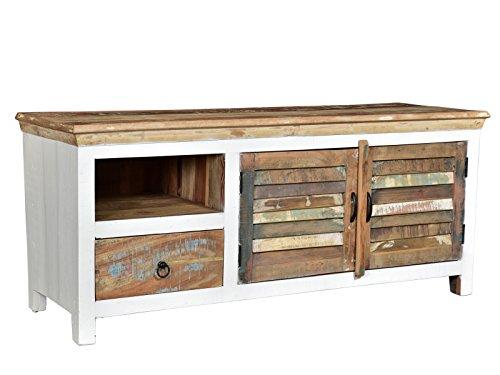 Woodkings® TV-Bank Perth weiß, 2türig, recyceltes Massivholz antik, TV-Unterschrank Vintage, Design TV-Möbel Schublade Holzmöbel