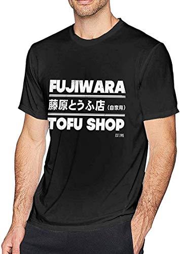 Rjsgdfjhs Initial D - Fujiwara Tofu Shop Camisetas de Manga Corta para Hombre Negro