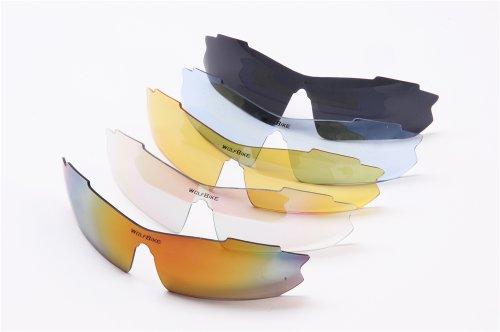 WOLFBIKE BYJ-013 Sonnenbrillen Radsport brille Fahrradbrille f. Außen Skilaufen Radfahren Fahrräder und andere Sport-Schutz mit 5 Wechselobjektiven (Grün) - 4