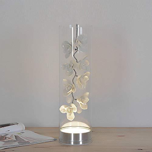 GUOCAO Luz Lámparas de mesa, personalidad creativa simple europea de cerámica llevó luces de cristal pétalos dormitorio lámpara de cabecera, Luz de estar Sala de Estudio Lectura noche, blanca Mesa