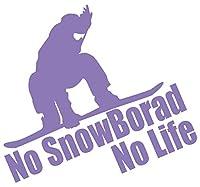 カッティングステッカー No SnowBoard No Life (スノーボード)・7 約180mmX約195mm ラベンダー 薄紫