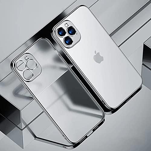 para iPhone 7 (8) Marco Cuadrado de Lujo Plateado Funda de teléfono Transparente para 12 11 Pro MAX Mini x XR XS 7 8 Plus Se 2020 Transparente Cubierta de Silicona