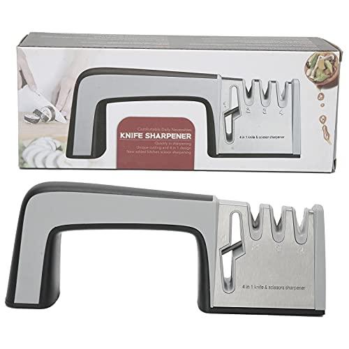 Duokon Afilador Multifuncional, Tijeras manuales de 4 etapas, Amoladora de Afilado, Herramienta de Cocina, Afilado rápido, Multifuncional para Tijeras de Cuchillos de Cocina(Un Estilo)