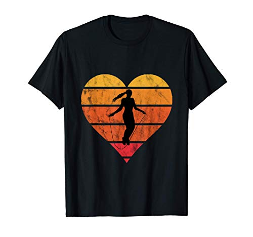 Rope Skipping Heart Retro Vintage Sunset Jump Rope Jumpers T-Shirt