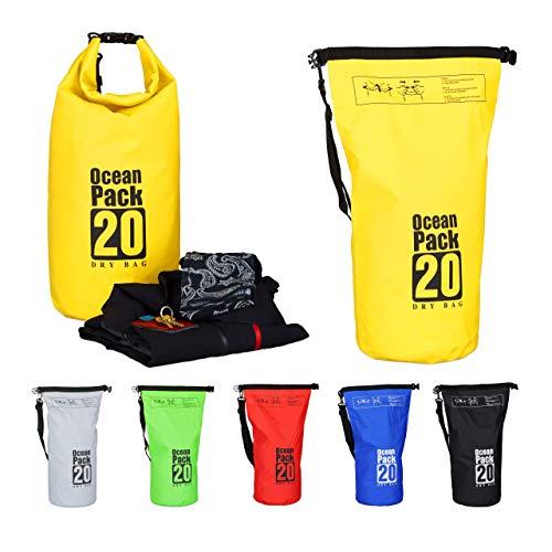 Relaxdays Dry Bag, 20L, Waterproof Ocean Backpack, Ultralight Gear for Kayaks, Boating, Skiing, Sailing, Yellow