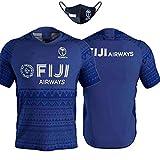 MRATME 2020 Fiji Rugby Jersey Uniformes de Rugby à 7 pour Hommes Entraînement à Domicile et à l'extérieur pour l'équipe Nationale T-Shirts Activités Quotidiennes T-Shirts à Manches Courtes, Polos-blu