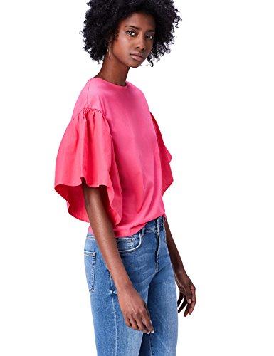 Marca Amazon - find. Camiseta Corta con Cuello Redondo Mujer, Rosa, 40, Label: M