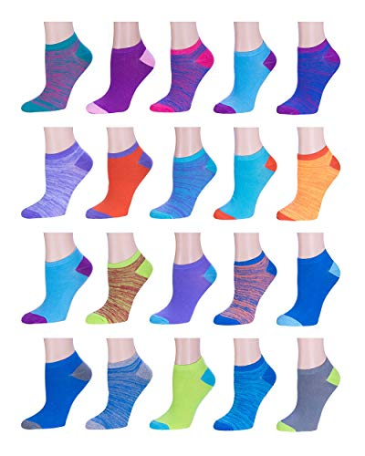 Women's Low Cut/No Show Socks 20-Pack Running Athletic Ankle Socks Assorted Colors Size 9-11 - Shoe Sizes 5-9 Assortment #4 -  BRIGHT STAR