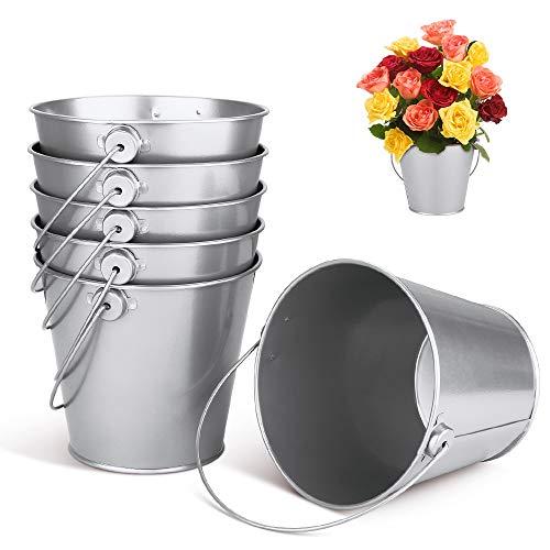 Gobesty Mini cubo de metal plateado, 6 piezas Contenedores de hojalata galvanizados pequeños envases de hojalata Con asas para fiesta boda Candy Votive Velas Baratijas Plantas pequeñas, 10.5 * 12cm