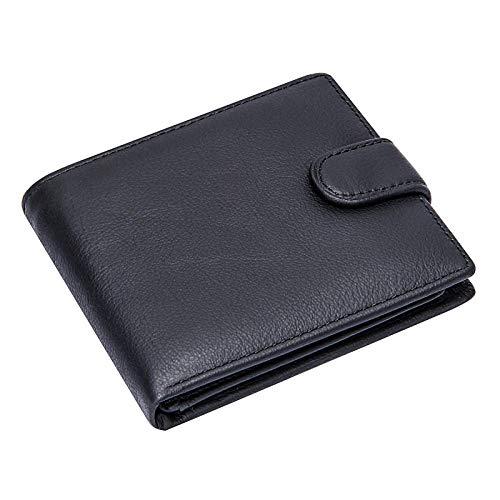 Heren portefeuille van leer, eenvoudig ontwerp voor heren in winkel, creditcard, ultradun, portemonnee voor heren,  Blanco Y Gris (zwart) - 9874160901658